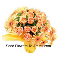 12 Orange Roses And 8 Orange Gerberas In A Vase