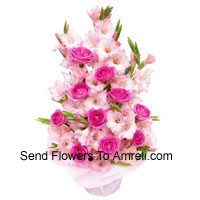 productBasket Of Pink Roses And Gladiolus