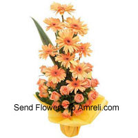 Basket Of Orange Gerberas and Orange Roses