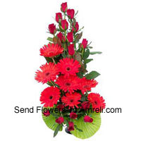 productBasket Of Red Roses And Red Gerberas