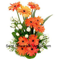 Basket Of White Roses And Orange Gerberas
