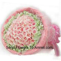 productBunch Of 50 Pink Roses With Fillers And Beautiful Wrapping