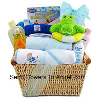 New Born Kit For A Boy Having All The Essential Products Like Toiletries etc.