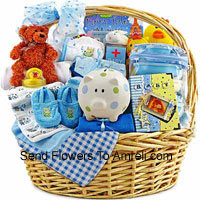 A Kit Having Both The Clothes And Essential Products Like Toiletries etc. This Is A Perfect Gift For A Newly Born Boy