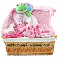 New Born Kit For A Girl Having All The Essential Products Like Toiletries etc.