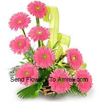 Basket Of 9 Pink Colored Gerberas With Fillers
