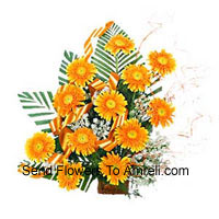 Basket Of 12 Yellow Colored Gerberas With Fillers