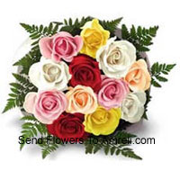 Bunch Of 12 Mixed Colored Roses