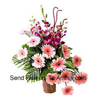 Basket Of Orchids And Gerberas