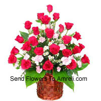 productBasket Of 24 Red Roses With Fillers
