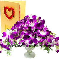 Orchids In A Vase With A Free Greeting Card