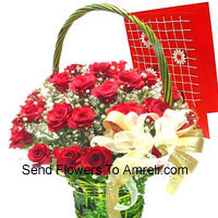 productBasket Of 24 Red Roses With A Free Greeting Card