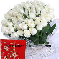 productBasket Of 100 White Roses With A Free Greeting Card