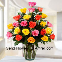 product2 Dozen Mixed Colored Roses In A Vase