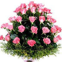 productBasket Of 30 Pink Roses With Seasonal Fillers