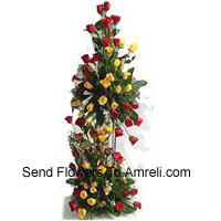 product4 Feet Tall Arrangement Of 125 Red Roses And 125 Yellow Roses