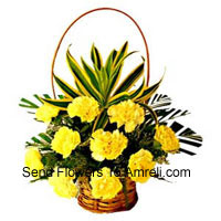Basket Of 12 Yellow Carnations