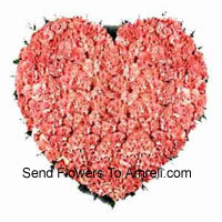 Heart Shaped Arrangement Of 100 Pink Carnations