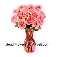 product12 Pink Roses In A Glass Vase