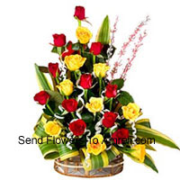 productBasket Of 12 Yellow and 12 Red Roses With Seasonal Fillers