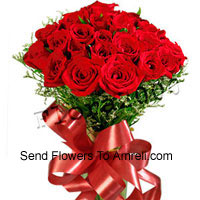 Bunch Of 24 Red Roses With Seasonal Fillers