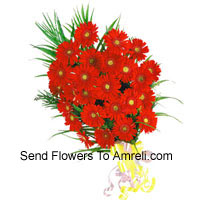 Bunch Of 24 Red Colored Gerberas