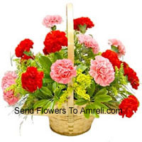 Basket Of 6 Pink And 6 Red Carnations
