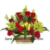 Basket Of 18 Red Roses With Seasonal Fillers