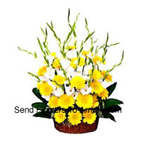 Basket Of Seasonal Flowers And Yellow Gerberas