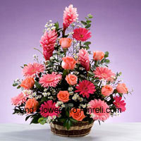 Basket Of Assorted Flowers Including Gerberas, Roses and Seasonal Fillers