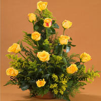 productBasket Of 12 Yellow Roses With Fillers