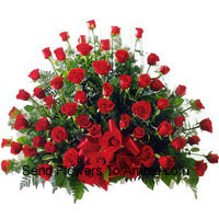 Basket Of 100 Red Colored Roses