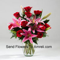 Lilies And Rose In A Vase Including Seasonal Fillers