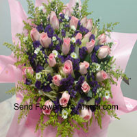 Bunch Of 30 Pink Roses With Seasonal Fillers