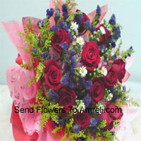 productBeautifully Wrapped Bunch Of 12 Red Roses