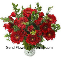 Gerberas, Roses And Fillers In A Vase