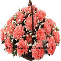 Basket Of 24 Pink Carnations
