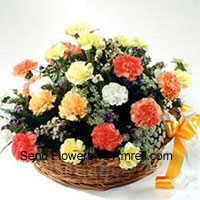 Basket Of 24 Mixed Colored Carnations With Seasonal Fillers
