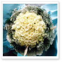 Bunch Of 100 White Roses With Seasonal Fillers