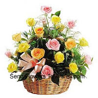 A Beautiful Basket Of 24 Mixed Colored Roses