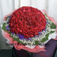 Bunch Of 100 Red Roses With Seasonal Fillers