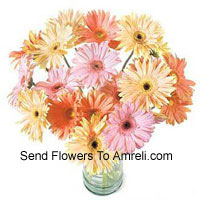 24 Mixed Colored Gerberas In A Vase
