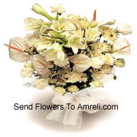 Bunch Of White Lilies, White Anthuriums, White Carnations And White Roses With Seasonal Fillers