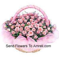 Round Basket Of 50 Pink Roses