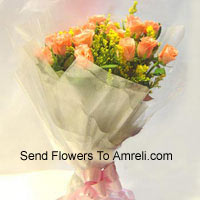productBunch Of 12 Orange Roses With Seasonal Filler