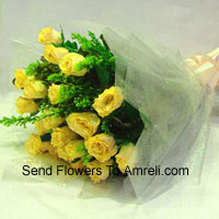 productBunch Of 12 Yellow Roses With Seasonal Fillers