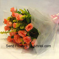 productBunch Of 18 Orange Roses With Seasonal Fillers