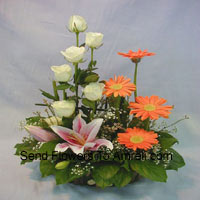 productBasket Of Assorted Flowers Including Lilies, Roses And Daisies