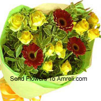 Bunch Of 10 Yellow Roses And 3 Red Colored Gerberas