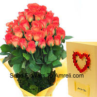 Bunch Of 30 Orange Roses With A Free Love Greeting Card
